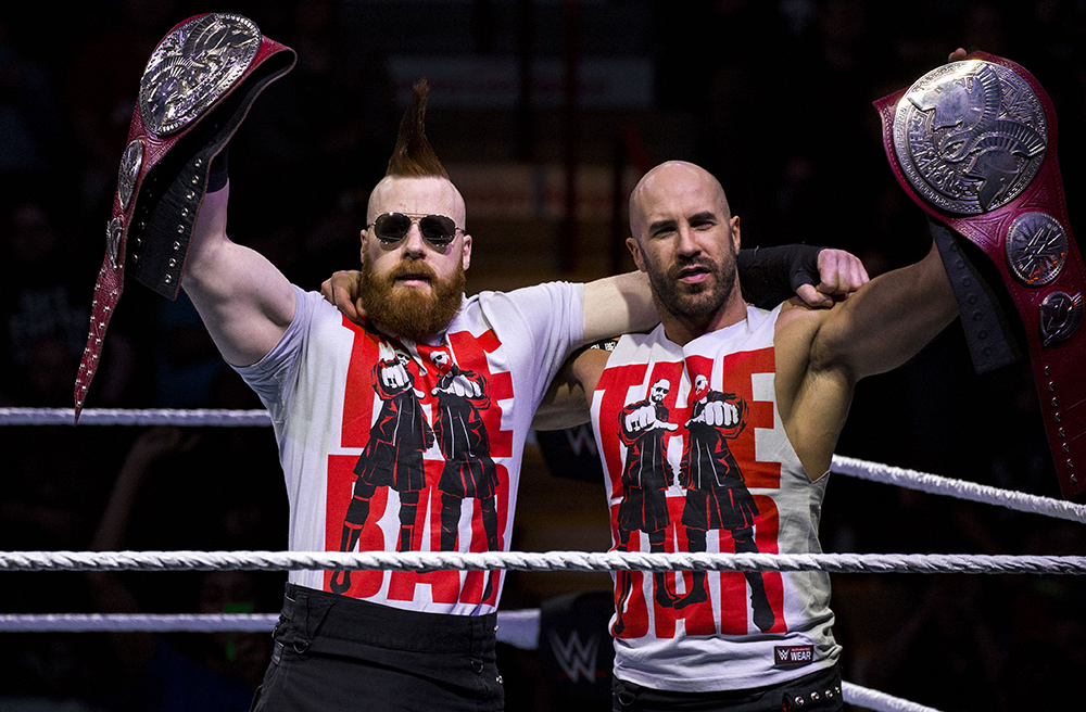 The Bar Sheamus and Cesaro with their belts
